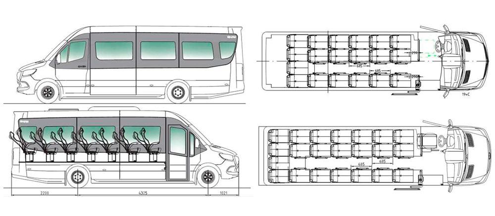 Mercedes minibus sprinter medidas cotas